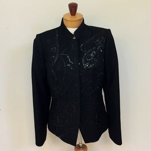 Bloomingdales Classic Black Wool Blazer Sequins 8